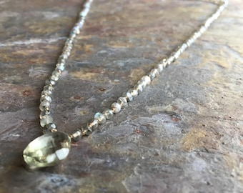Labradorite and green amethyst gemstone hand knotted silk cord necklace