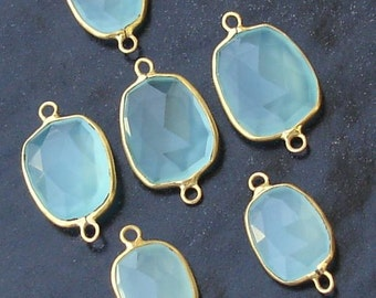 925 Sterling Silver, Peruvian Blue Chalcedony, 24K Gold Plated Connector,ONE Piece of 15-18mm