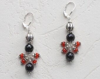 Cluster Earrings, Carnelian Earrings, Black Spinel Earrings, Sterling Silver Earrings, Lever Back Earrings, Queen of Hearts Earrings