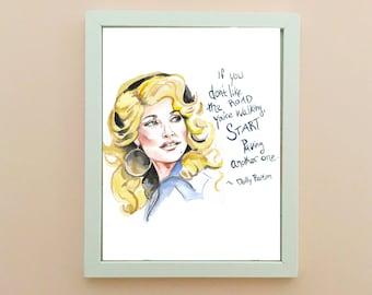 Dolly Partpn Portrait, inspiring women, inspiring quote