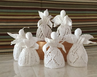 Knitted angels ornaments or decorations
