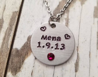 Personalized hand stamped necklace, mom's necklace with names, personalized jewelry, stainless steel chain