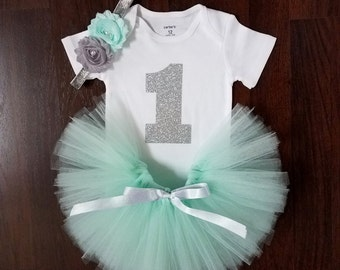 Baby Girl First Birthday Outfit - Mint Tutu - Cake Smash Outfit