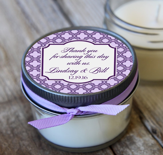 12 - 4 oz Wedding Favor//Lavender Wedding Favor//Soy Candle Favor//Personalized Bridal Shower Favor//Shower Favor//Candle Favors//