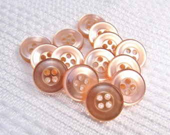 """Just Peachy: 1/2"""" (13mm) Peach-Pink Shirt Buttons - Set of 14 Vintage New Old Stock Matching Buttons"""