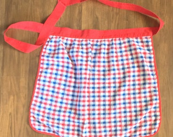 Vintage Apron Red White and Blue Terry Cloth Patriotic Fourth of July