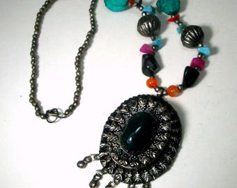 SALE, Tribal Agate and Silver Boho Bead Necklace, 1970s Ethnic Filigree and Stone Fringed Pendant Centerpiece