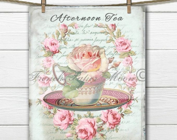 Digital Shabby Chic Teacup with Roses, Afternoon Tea, French Digital Pillow Transfer Graphic, Instant Download