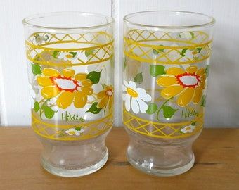 2 vintage daisy juice glasses