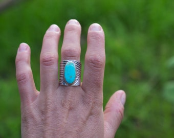 Turquoise Rambler Ring - Adjustable Saddle Ring