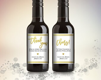 Party Favor Mini Wine Bottle Labels, Customized - Wedding, Engagement - White and Gold, Mini Wine Labels - DIY Print, Printable PDF