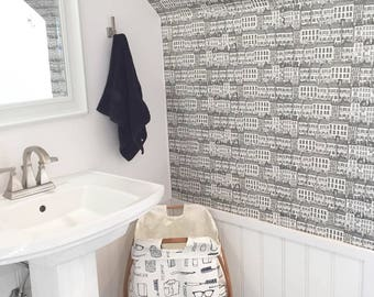 Removable Wallpaper // Townhouses Print // Eco friendly // Adheres to walls and shelf surfaces