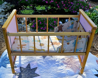Vintage Wooden Doll Bed/Crib, Wood Drop Side Doll Bed