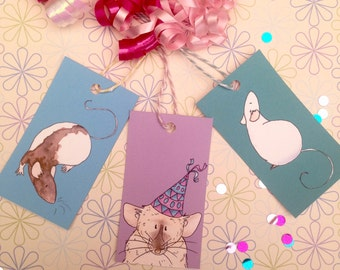 Gift tags for any occasion, rat watercolour illustrations, printed on quality card, swing tags, birthday wrapping, special occasion,