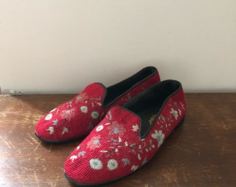 Larkspur Collection needlepoint loafers