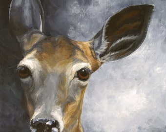 White-tailed deer giclée print of original acrylic painting