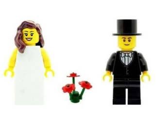 Wedding Bride with Brown Hair & Groom Minifigs with Red Flowers Made From LEGO Parts