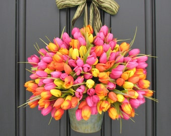 Spring Wreaths Tulips Farmhouse Door Wreaths Tulips Mother's Day Wreath Easter Wreaths Easter Tulips Trending Wreaths Shabby Chic Decor