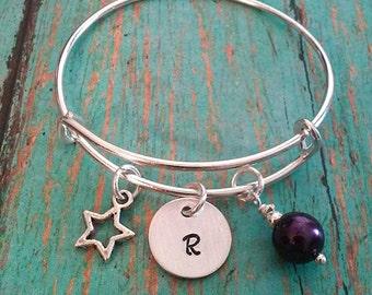 Child's Expandable Bangle Bracelet - Star Charm - Star - Personalized - Gift for Little Girls - Little Girl Gift - Birthday Gift for a Girl