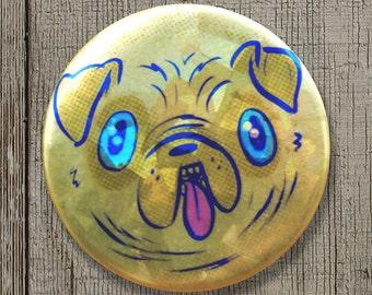 "Cute Pug Sparkly Metallic Button 1.25"""