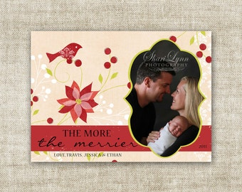 """Christmas HOLIDAY Cards """"The more, the merrier"""" Family Picture Customizable Printable Digital HOLIDAY Greeting"""