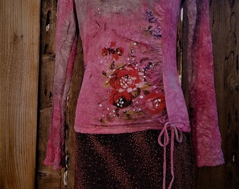small floral graphic shirt semi sheer 90's boho grunge embellished ~ 90s sheer long sleeve t cropped crinkled small