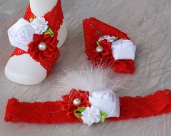 children barefoot sandals, red and white baby set, baby barefoot set, sandals headband set, baby wear, baby photo props,lacy feather sandal