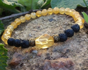 Diffuser bracelet Citrine Lava Energy Creative Protection Evil eye Abundance Prosperity Success Strength Courage Calming Women jewelry gift
