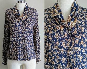 vintage 90's paisley button front shawl collar rayon blouse in navy blue and beige size medium