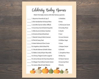 Fall Baby shower games, Celebrity baby name game, Pumpkin Baby shower, Autumn baby shower, Printable baby shower, Celebrity baby names, S016