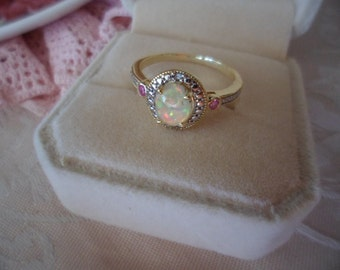 Antique Victorian vintage 9ct gold Opal ring with Rubies and Diamond size 7 or O gold stamped 375 9 ct