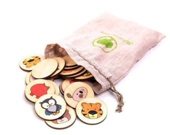 Animals Wooden Memory Game   Matching Game   Montessori Toy   Educational Toys   Toddler Games   Learning Toys   Little Kid Games