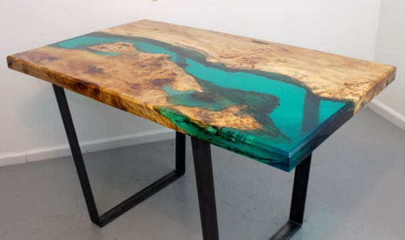 Resin river dining table for Diy river table