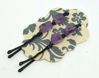 Cute Decorative Hair Pins with Wire Wrapped Amethyst Square Tubes