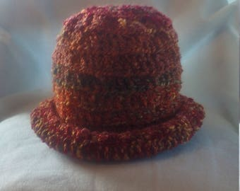 half price rolled brim hat in shades of fire