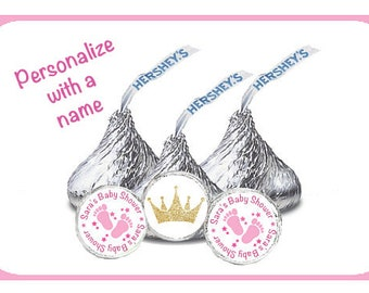 Hershey Kiss Stickers, It's a Girl Stickers, Pink Baby Shower, Princess Crown, Baby Girl Shower, Pink Baby Feet, Pink Shower Favor (810)
