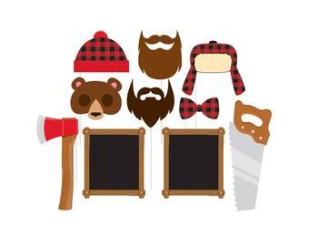 Lumberjack Photo Props - Lumberjack First Birthday - Lumberjack Baby Shower - Flannel - Lumberjack Birthday - Party Decor - Buffalo Plaid