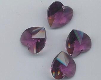 Four sparkling vintage Swarovski crystals - Art. 6202 - 18 x 17.5 mm - amethyst