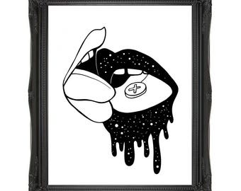 LOVERS Art Print // A5/A4/A3 // Illustration // Ecstacy // Erotic // Pop Art Poster