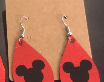 Small genuine red leather Mickey Mouse earrings
