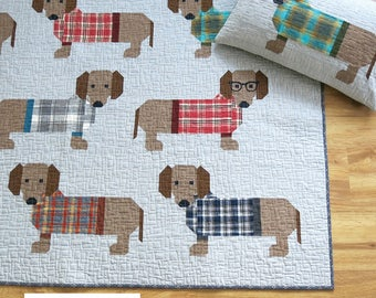 Elizabeth Hartman Dogs In Sweaters Quilt Pattern Quilting Sewing Fabric