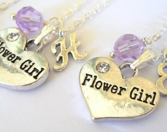 More Colors Flower Girl Necklace with Swarovski Crystal and Initial N093