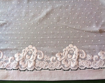 """Elastic Extra Wide Double Sided Lace, White, 17"""" inch wide, For Apparel, Home Decor, Accessories, Mixed Media, Gifts"""