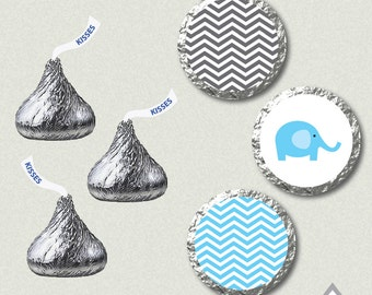 Blue Elephant Hershey Kisses Labels, Elephant Baby Shower, Baby Shower Kisses, Printable Kiss Labels, Elephant Kisses, Printable PDF