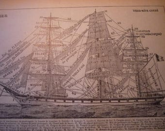 French Lithograph - Sailing Ship - Navy - Navire -  1920s engraving - original page Petit Larousse Dictionary great for framing learn French
