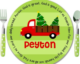 Personalized Christmas Plate - Kids Melamine Plate - Child Christmas Gift Boy - Kids Holiday Plate - Christmas Tree Farm - Red Truck Plate