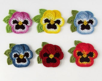 Crochet Flower Pin Realistic Pansy Crochet Flower Brooch Lapel Pin Scatter Pin Pansy Brooch Fabric Flower Pin Mothers Day Gift Ready to Ship