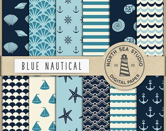 SEA DREAM | Nautical Digital Paper Pack | Scrapbook Paper | Printable Backgrounds | 12 JPG, 300dpi Files | BUY5FOR8