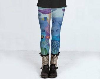 A World Below leggings, yoga leggings, printed leggings, women's clothing, women's leggins, spandex sports