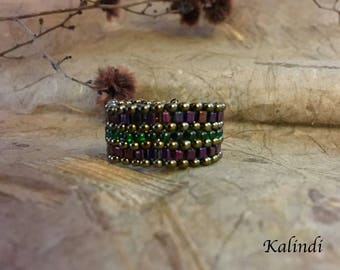 Boho ring Wide beaded ring wide seed bead ring Beadwoven ring Wide band ring purple green ring  Woven bead ring Handmade ring Beadwork